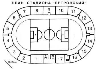 Петровский стадион схема трибун